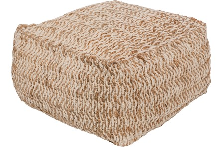 Pouf-Ivory And Khaki Woven Square