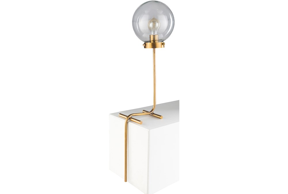 Table Lamp-Gold And Tinted Glass Globe