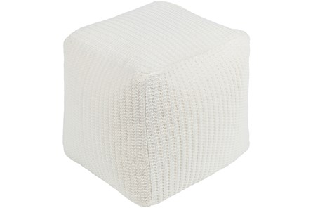 Pouf-Knitted Cream Square