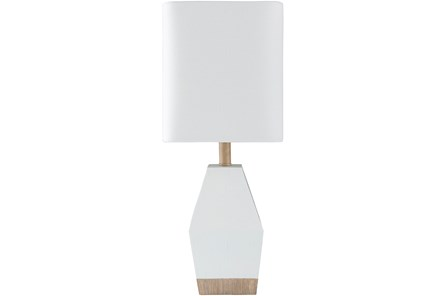Table Lamp-17 Inch White And Wood