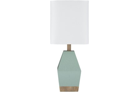 Table Lamp-17 Inch Seagreen And Wood