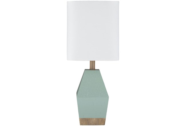 Table Lamp-17 Inch Seagreen And Wood - 360