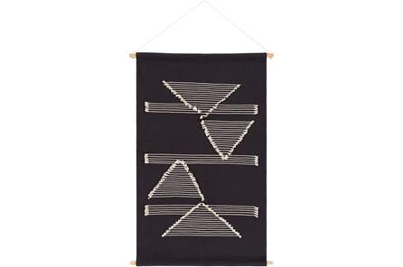 Wall Hanging-Hand Embroidered Black And Cream 24X36 - Main