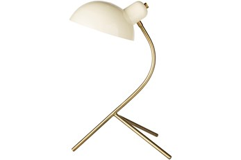Table Lamp-Antiqued Brass And White
