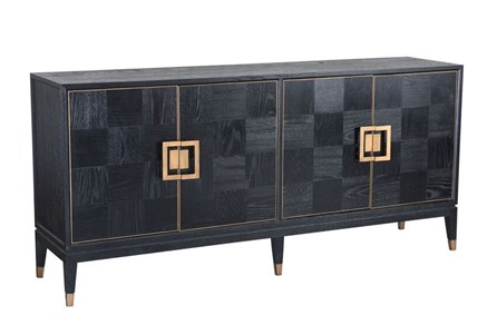 Black Oak Wood And Wrought Iron Sideboard