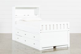 Taylor White Twin Bookcase Bed With Double 6-Drawer Storage and USB