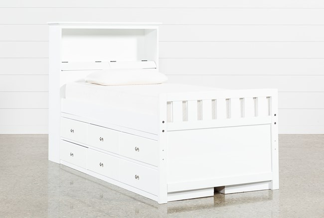 Taylor White Twin Bookcase Bed With Double 6-Drawer Storage and USB - 360