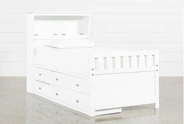Taylor White Twin Bookcase Bed With Single 6-Drawer Storage and USB