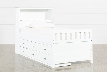 Taylor White Twin Bookcase Bed With Single 6- Drawer Storage