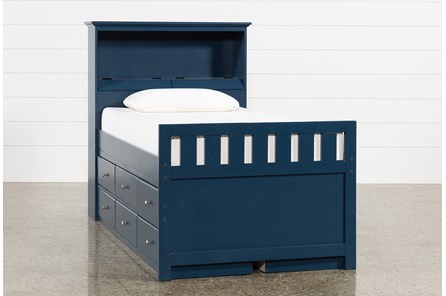 Taylor Navy Twin Bookcase Bed With Double 6-Drawer Storage and USB
