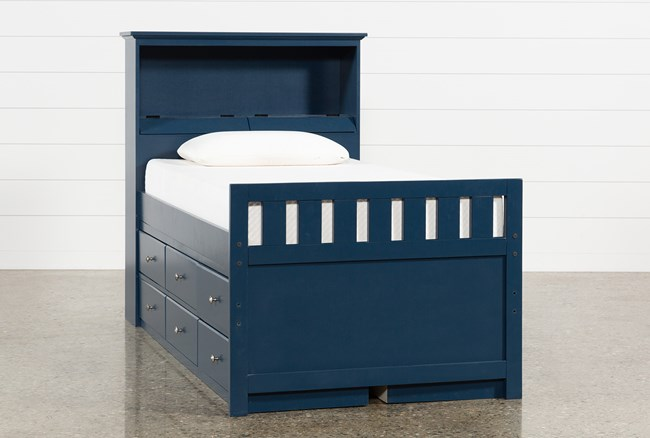 Taylor Navy Twin Bookcase Bed With Double 6-Drawer Storage and USB - 360