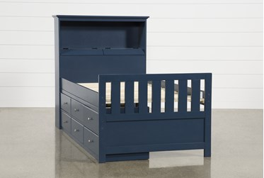 Taylor Navy Twin Bookcase Bed With Single 6-Drawer Storage and USB