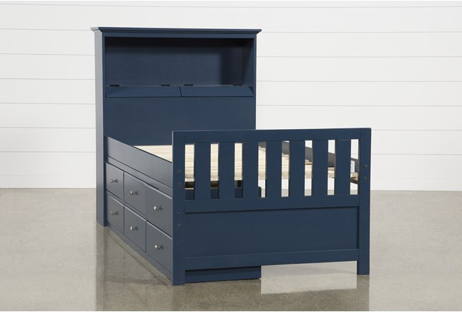 Taylor Navy Twin Bookcase Bed With Single 6-Drawer Storage and USB - 360