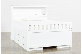 Taylor White Full Bookcase Bed With Double 6-Drawer Storage and USB