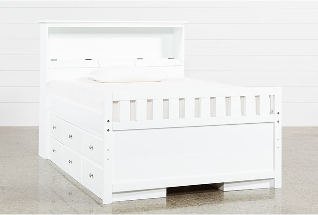Taylor White Full Bookcase Bed With Double 6-Drawer Storage and USB - 360