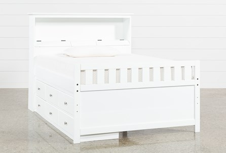 Taylor White Full Bookcase Bed With Single 6- Drawer Storage