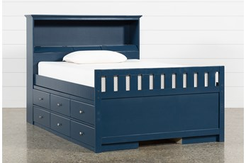 Taylor Navy Full Bookcase Bed With Double 6-Drawer Storage and USB