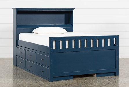 Taylor Navy Full Bookcase Bed With Double 6- Drawer Storage