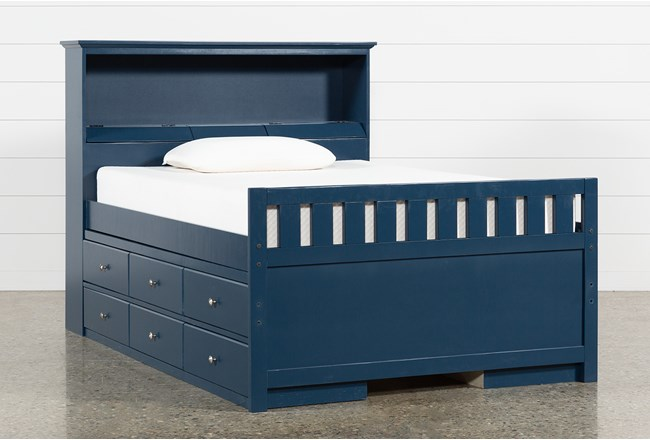Taylor Navy Full Bookcase Bed With Double 6-Drawer Storage and USB - 360