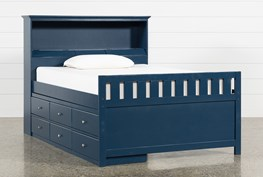 Taylor Navy Full Bookcase Bed With Single 6- Drawer Storage