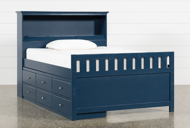 Taylor Navy Full Bookcase Bed With Single 6- Drawer Storage - 360