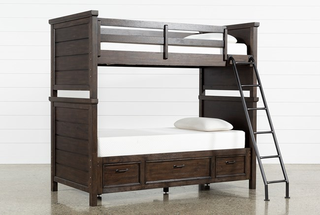 Jacob Twin Over Twin Bunk Bed With Storage Living Spaces