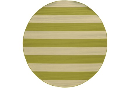 94 Inch Round Outdoor Rug-Lime Stripe