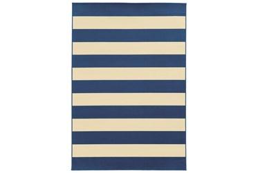 """2'4""""x4'4"""" Outdoor Rug-Navy Stripe"""