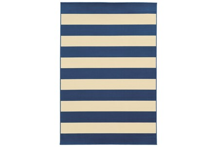 27X90 Outdoor Rug-Navy Stripe
