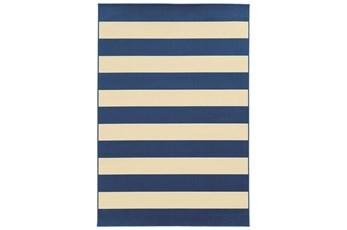 """3'6""""x5'5"""" Outdoor Rug-Navy Stripe"""