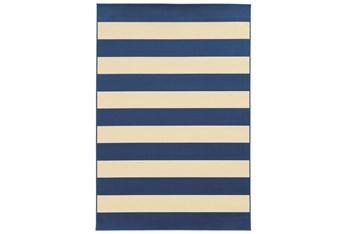 """6'6""""x9'5"""" Outdoor Rug-Navy Stripe"""