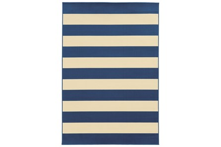 79X114 Outdoor Rug-Navy Stripe
