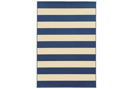 94X130 Outdoor Rug-Navy Stripe