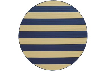 """7'9"""" Round Outdoor Rug-Navy Stripe"""