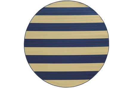 94 Inch Round Outdoor Rug-Navy Stripe