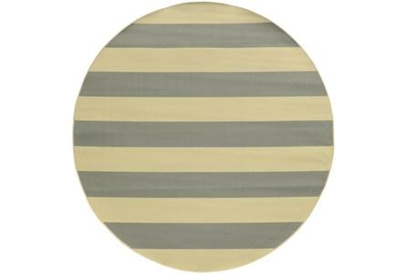 94 Inch Round Outdoor Rug-Grey Stripe
