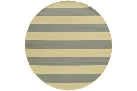 94 Inch Round Outdoor Rug-Grey Stripe