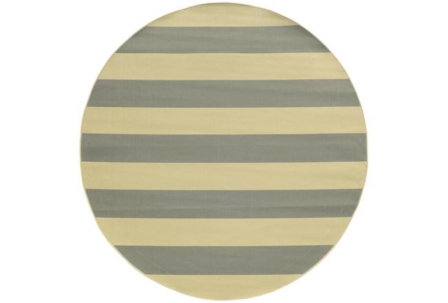94 Inch Round Outdoor Rug-Grey Stripe - 360