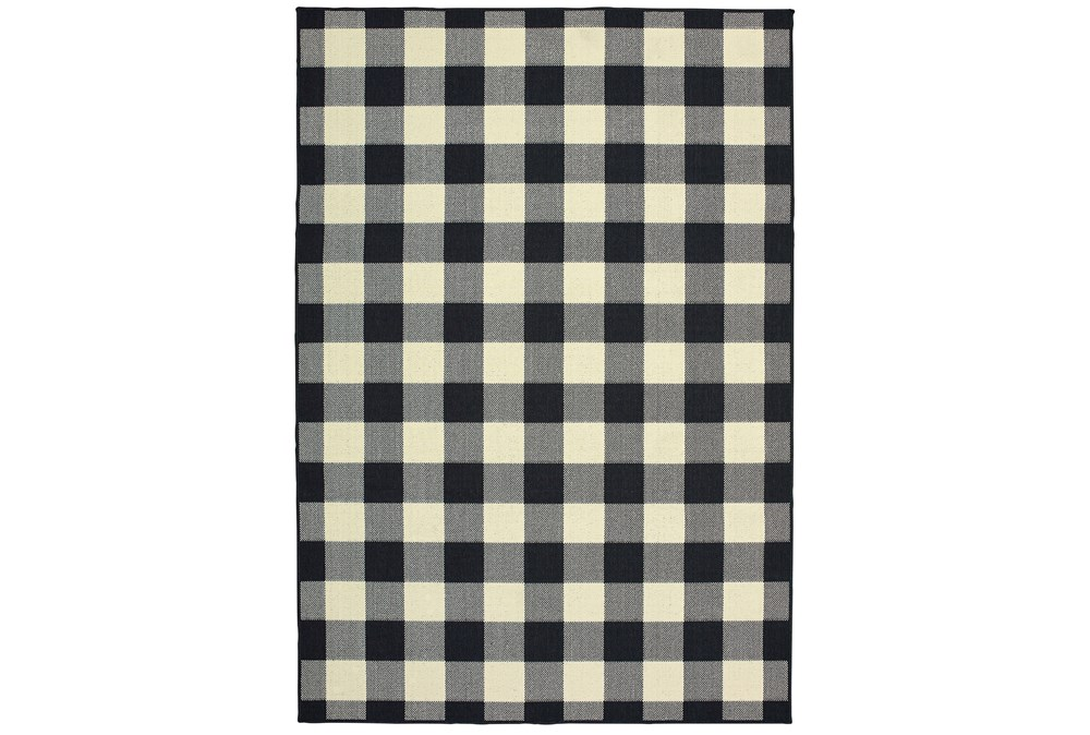 21X45 Outdoor Rug-Black/Ivory Check