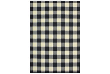 """2'4""""x4'4"""" Outdoor Rug-Black/Ivory Check"""