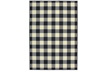 27X90 Outdoor Rug-Black/Ivory Check