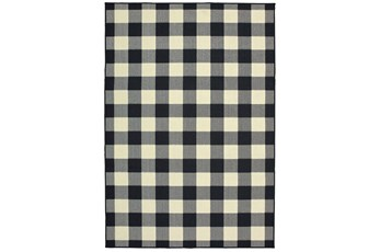 43X66 Outdoor Rug-Black/Ivory Check