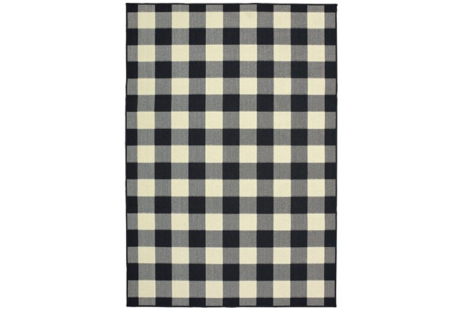 43X66 Outdoor Rug-Black/Ivory Check - 360