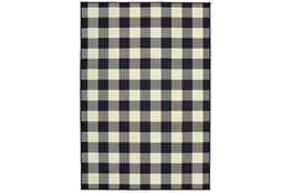 63X90 Outdoor Rug-Black/Ivory Check