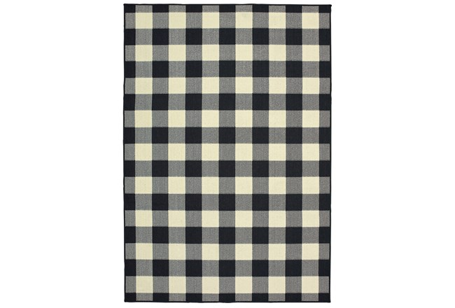 79X114 Outdoor Rug-Black/Ivory Check - 360
