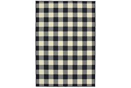 94X130 Outdoor Rug-Black/Ivory Check