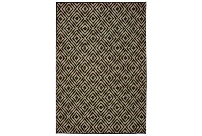 21x45 Outdoor Rug Black Tan Diamonds