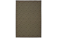 27X90 Outdoor Rug-Black/Tan Diamonds