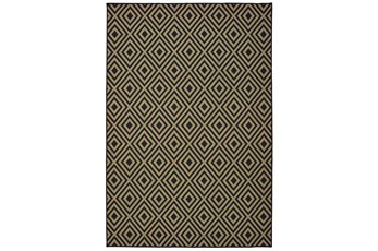 43X66 Outdoor Rug-Black/Tan Diamonds
