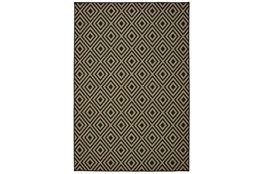 79X114 Outdoor Rug-Black/Tan Diamonds